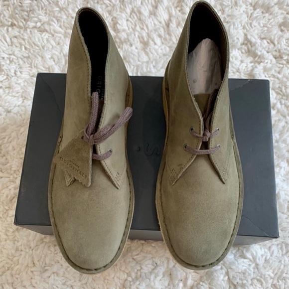 Clarks Olive Green Desert Suede Boot